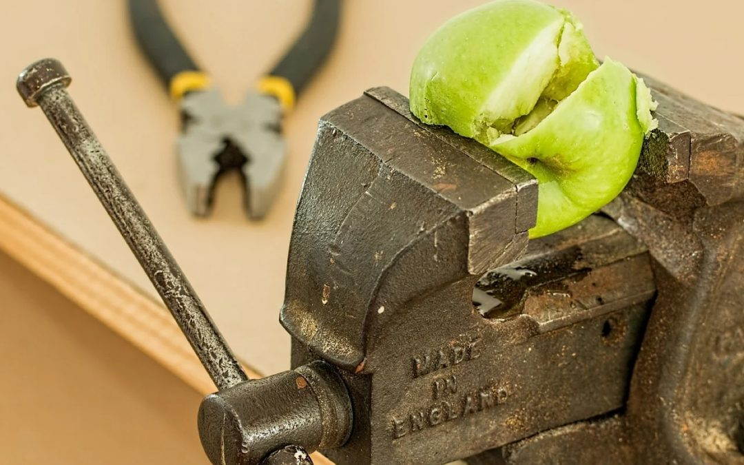 Apple crushed in a vice